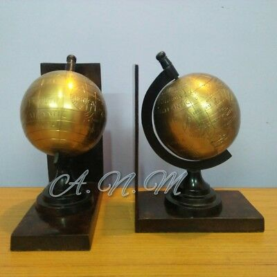 Set Of Two Antique Brass World Globe Vintage Style Table Top Decorative Item