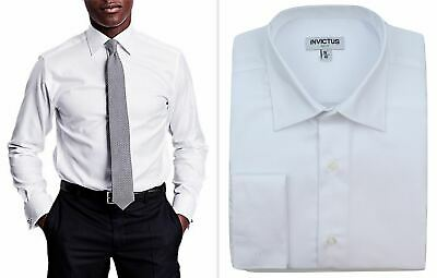 """Mens Formal Shirt Invictus 2"""" Longer Tall Fit Non Iron Cotton Double French Cuff"""
