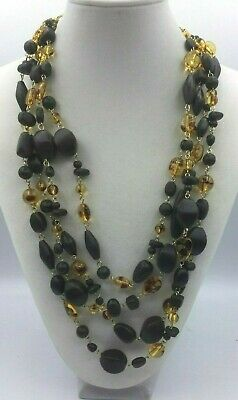 Talbot's Necklace Lucite Faux Tortoise Shell Wood Linked Bead Gold Multi Strand