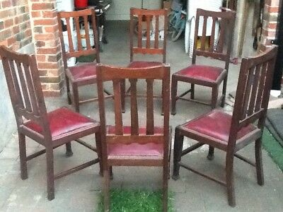 6 x Vintage English Square Back Dining Chairs