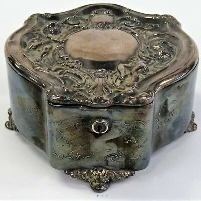 A Spelter Metal  jewel box in Rococo style 19th Century