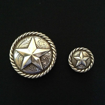 Antique Silver Rope Edge Star Concho Set
