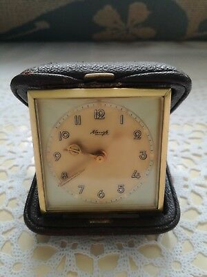 Vintage Kienzle Travel Alarm Clock Fully Working Leather Coated Good Condition!