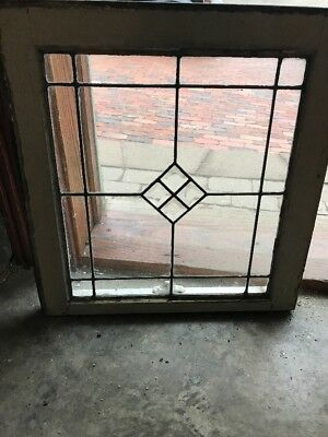 Sg 1959 Antique Leaded Glass 4 Beveled Glass Center Window 20.5 X 21.5