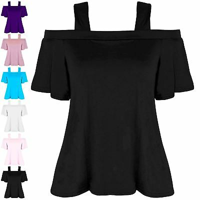 New Girls Kids Childrens Off The Shoulder Strappy Short Sleeve Flared Swing Top