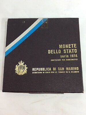 San Marino 1974 Full 8 Coin Mint Set with Silver 500 Lire Sealed BU