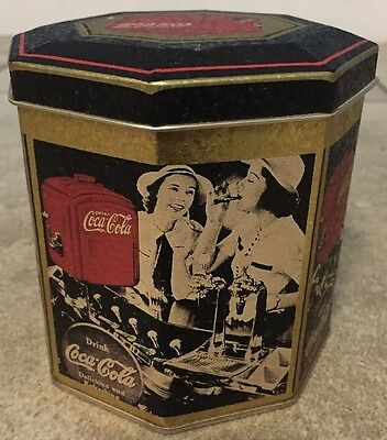 "Vtg 1989 Coca Cola Collectible 4.5"" Tall Tin Octagon Container w/ Lid Retro 80's"