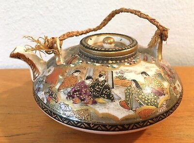 Antique Japanese Japan Satsuma Sake Pot Teapot signed Buy It Now