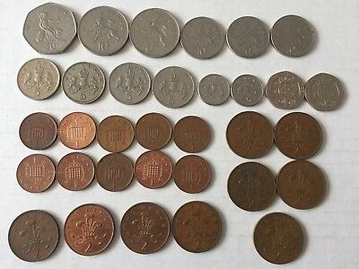 Lot Of Britain Coins New Pence & Penny 33 Coins