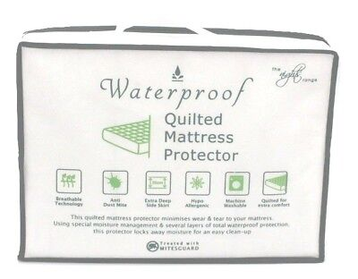 Waterproof Quilted SOFT Mattress Protector Extra Deep Fitted Sides Anti Allergy