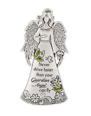 Ganz Never Drive Faster Than Your Guardian Angel Can Fly  Auto Car Visor Clip
