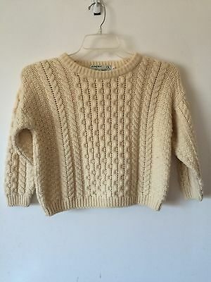 Children's Inisfree Warm 100% Wool Chunky Knit Irish Sweater Ages 8-10 Yrs
