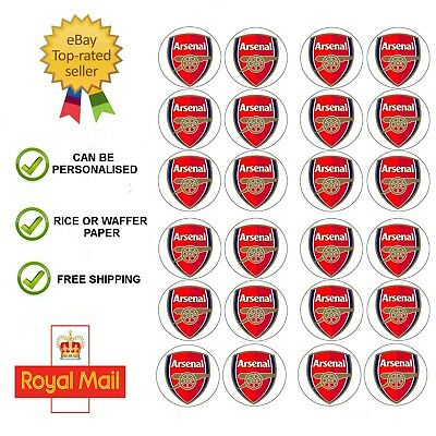 24 x Edible Arsenal FC Edible Wafer / Icing Cup Cake Toppers Happy Birthday