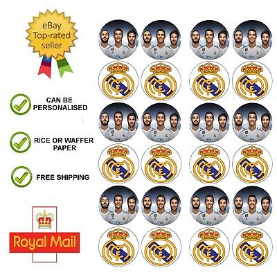 24 x Real Madrid Ronaldo Edible Wafer / Icing Cup Cake Toppers Birthday