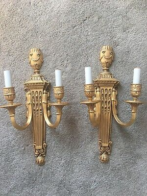 French Neoclassical Vintage Pair Gilt Brass Bronze Wall Sconces