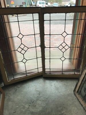 Sg 1965 Match Pair Antique Leaded And Beveled Transom Windows 23.5 X 36.5
