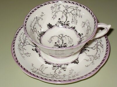 Star Paragon Arcadia Courting Couple Purple Black Cup & Saucer c1920s RARE