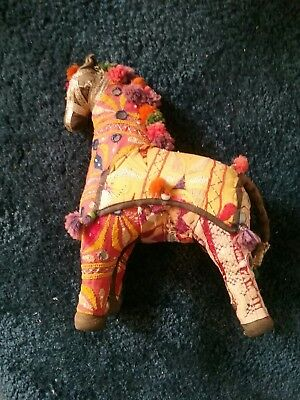 Vintage HANDWOVEN  STUFFED HORSE Embroidered 100% Cotton MADE IN INDIA