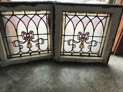 Sg 1971 Matched Pair Antique Stainglass Window 18.5 In.² Ribbon Design