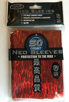 MAX PROTECTION NEO CARD SLEEVES 50 pochettes protege cartes RED WAVE #7050LHR