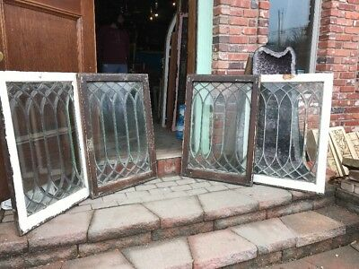 SG 1974 Set Of Four Matching All Beveled Glass Gothic Windows 24 3/8 X 35