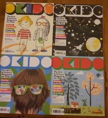4 OKIDO Children's Arts & Science Magazines Nos 25 to 28, used, still very good