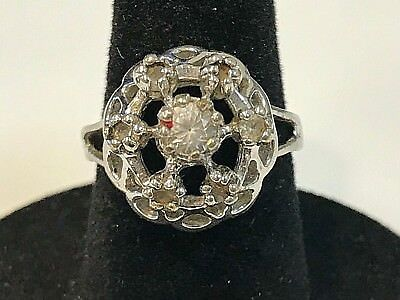 Beautiful Signed 18K HGE White Gold Cocktail Ring Sz 4.75