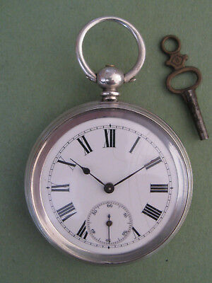 Silver Open Face Key Wind Swiss Pocket Watch.