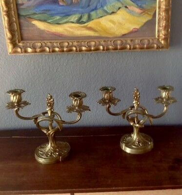 Pair Bronze Gilded French Candelabra 19th C. European Antique Napoleon   III