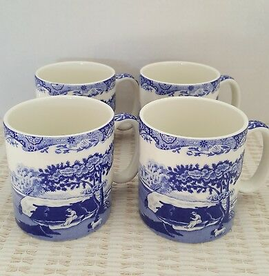 """Set Of 4 Spode """"blue Italian"""" Mugs. New In The Box Never Used Perfect Condition!"""