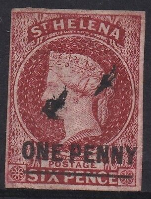 St Helena 1863 Qv One Penny On 6D Imperf Used Type A