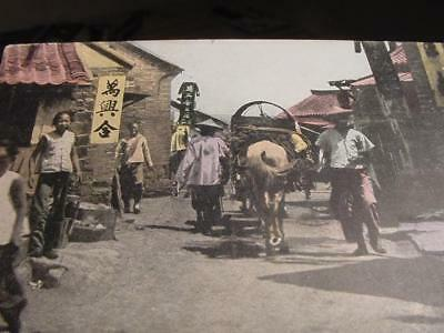 EARLY 1900s A STREET in CHEFOO CHINA colorized postcard unsent people market