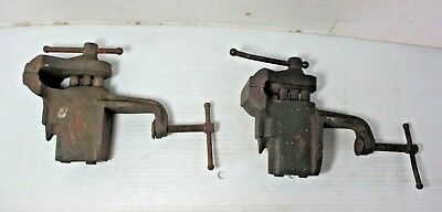 2 Vintage Woodworking Plumbing Vises with Clamp To Attach To Bench or Table