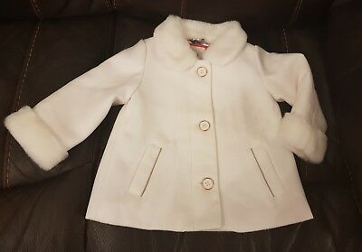 Ted Baker baby girl white coat/floral lining 12-18month