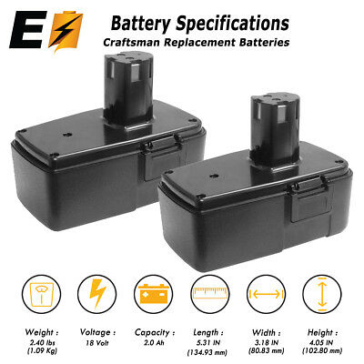 2 Pack: 18 VOLT 2.0Ah Replacement BATTERY for CRAFTSMAN 11098 11103 982321.001