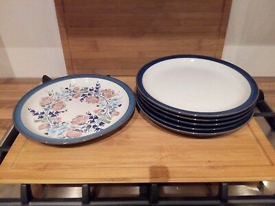5x Denby Imperial Blue Dinner Plates (10.25\ ) Seconds & DENBY Boston Blue Dinner Plates X3 10 1/2\