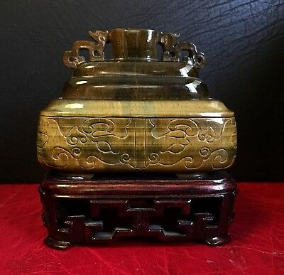 Fine beautifully carved Chinese Early 20th Century Tigers Eye incense burner