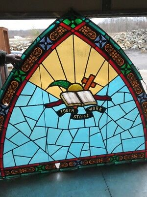 Antique Arch Top Painted And Fired Stainglass Religious Window 70 X 60