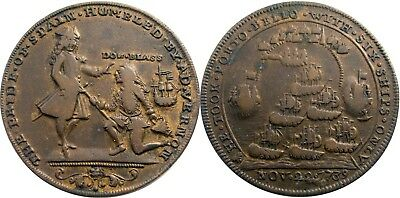 1739 Admiral Vernon Medal, CHOICE VERY FINE, Rarity-5 variety, GREAT surfaces!