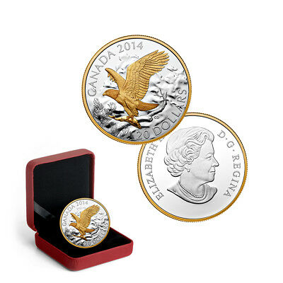 2014 Canada $20 Bald Eagle Perched 1 oz Pure Silver Proof Gold-Plated Coin