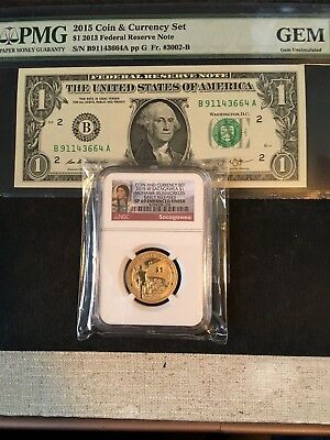 2015 $1 Coin & Currency Set, Sacagawea $1 Early Release Sp69 & $1 Pmg Gem Note