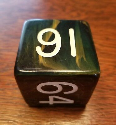 Vintage BAKELITE 2 inch Doubling Cube Gaming Dice Backgammon- Green Marbled
