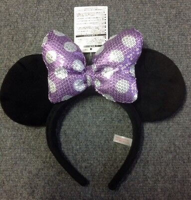 Tokyo Disneyland Minnie Mouse Ears Headband With Purple Sequin Bow New