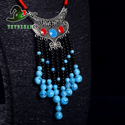 Necklace &Tibet Silver Carved Pattern Pendant &Turquoise Tassels M2020`b