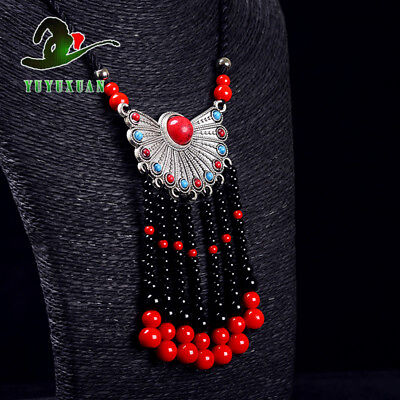 Necklace & Tibet Silver Inlay Red Turquoise Pendant &Red Coral Tassels M2018`d