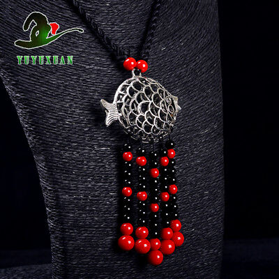 Necklace & Tibet Silver Carved Fish Pendant & Red Coral Tassels M2017`d