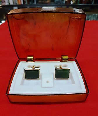Cuff Links Green Jade Or Green Onyx In Original Box