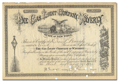 Gas Light Company of Waverly Stock Certiicate (New York)