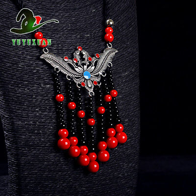 Necklace& Tibet Silver Carved Pattern Pendant& Red Coral Tassels M2016