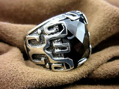 Turkish Handmade Ottoman Style 925 Sterling Silver Onyx Stone Men's Ring Size 9